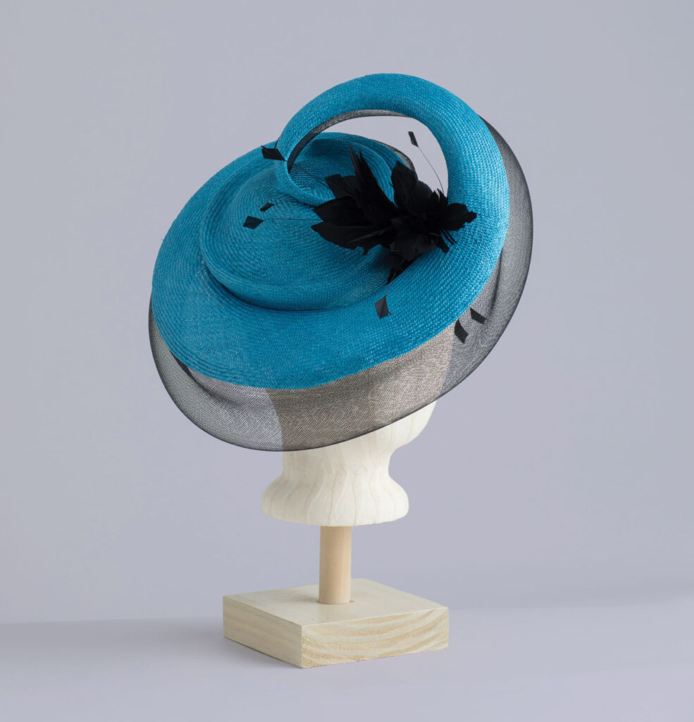 Blue Derby hatinator with black feathers
