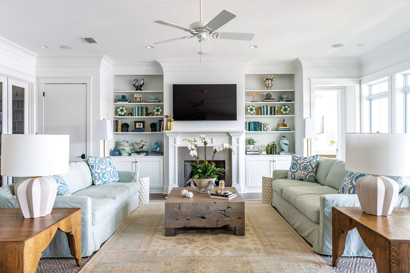 Living room decorated with coastal accents