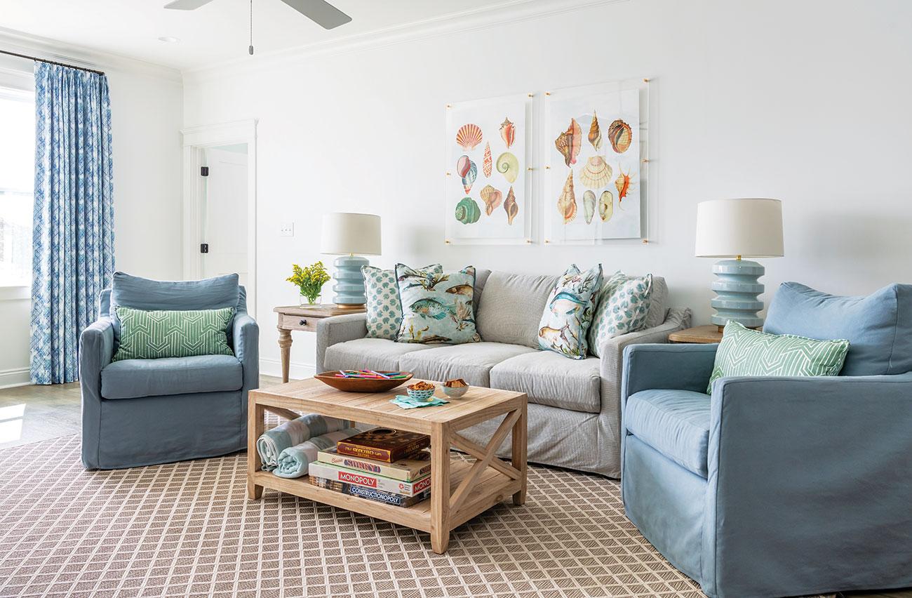 Living room with coastal decor