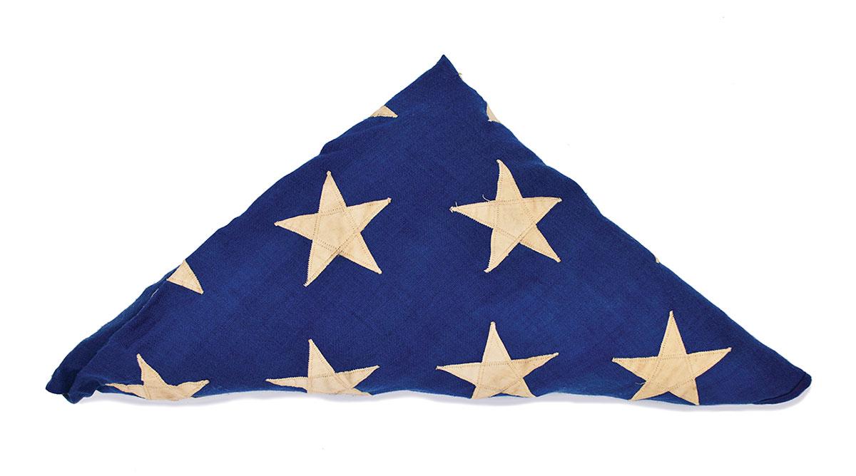 Flag folded into a triangle