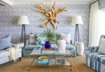 Colorful wallpapered living room