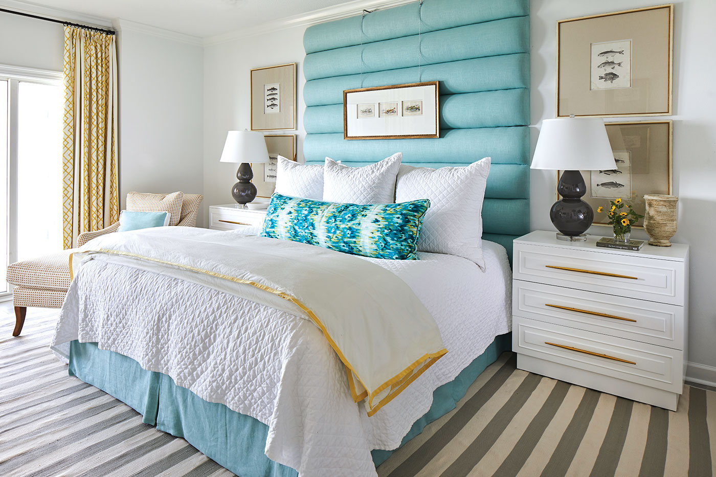 White bedroom with turquoise accents