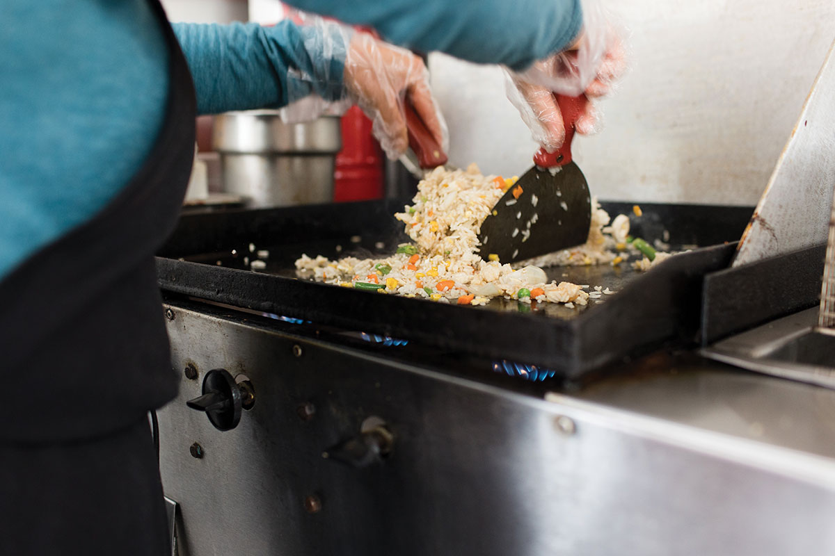 Lith Vining cooking fried rice