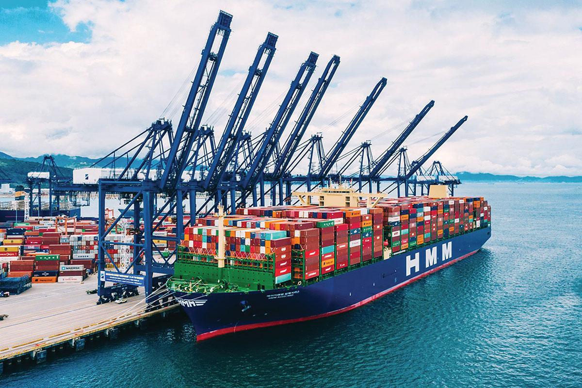 Large marine vessel at shipping port