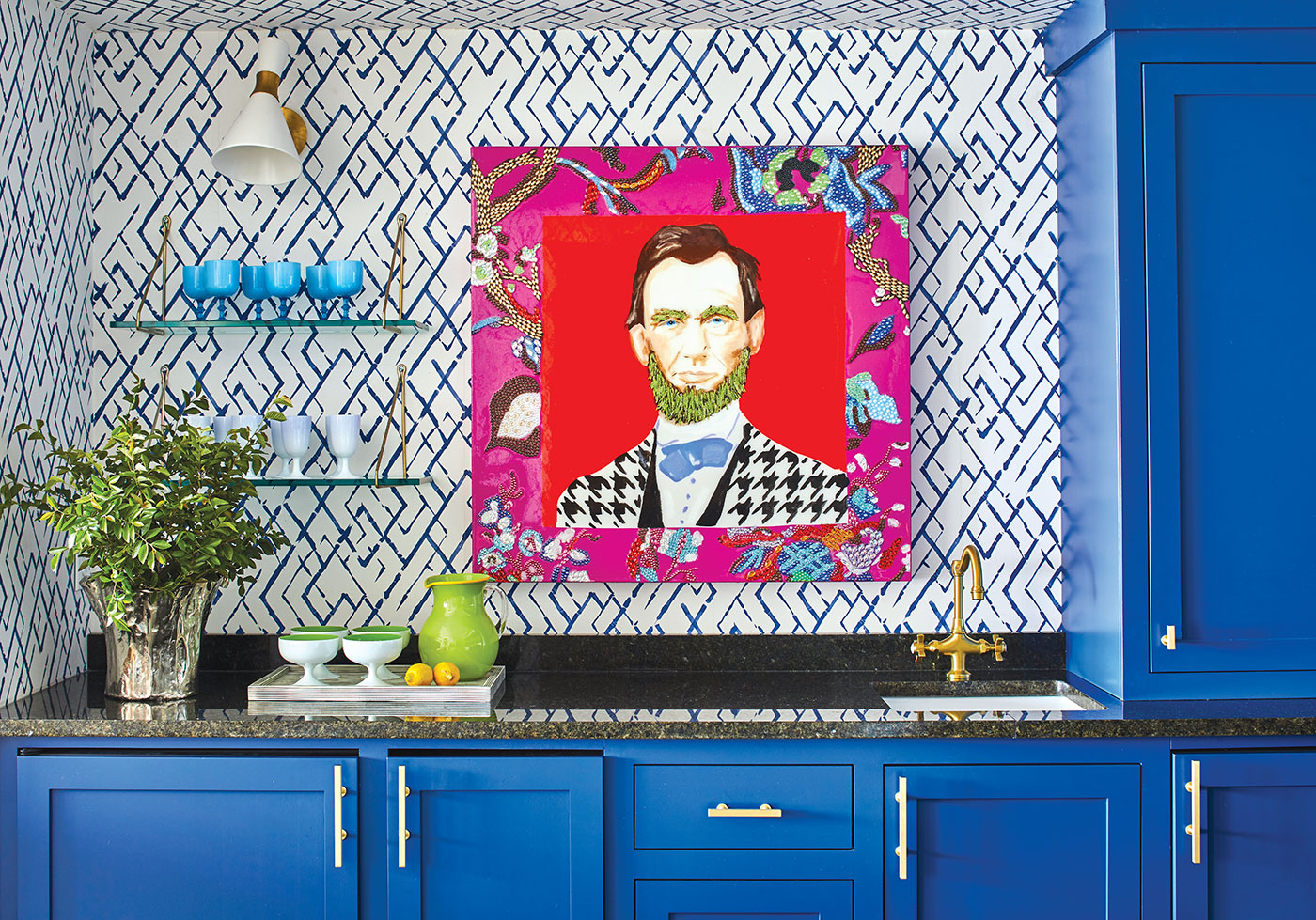 Wet bar with blue cabinets