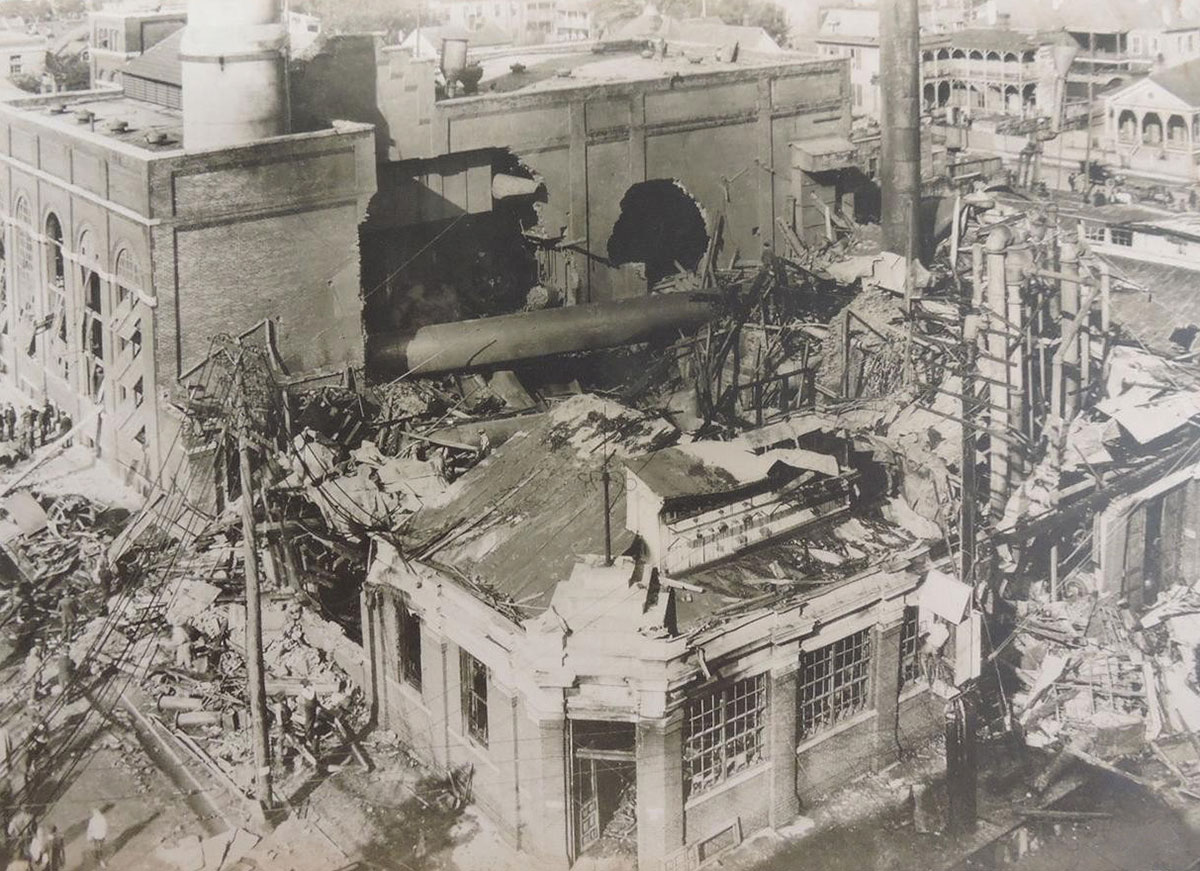 Historic photo of electric plant explosion