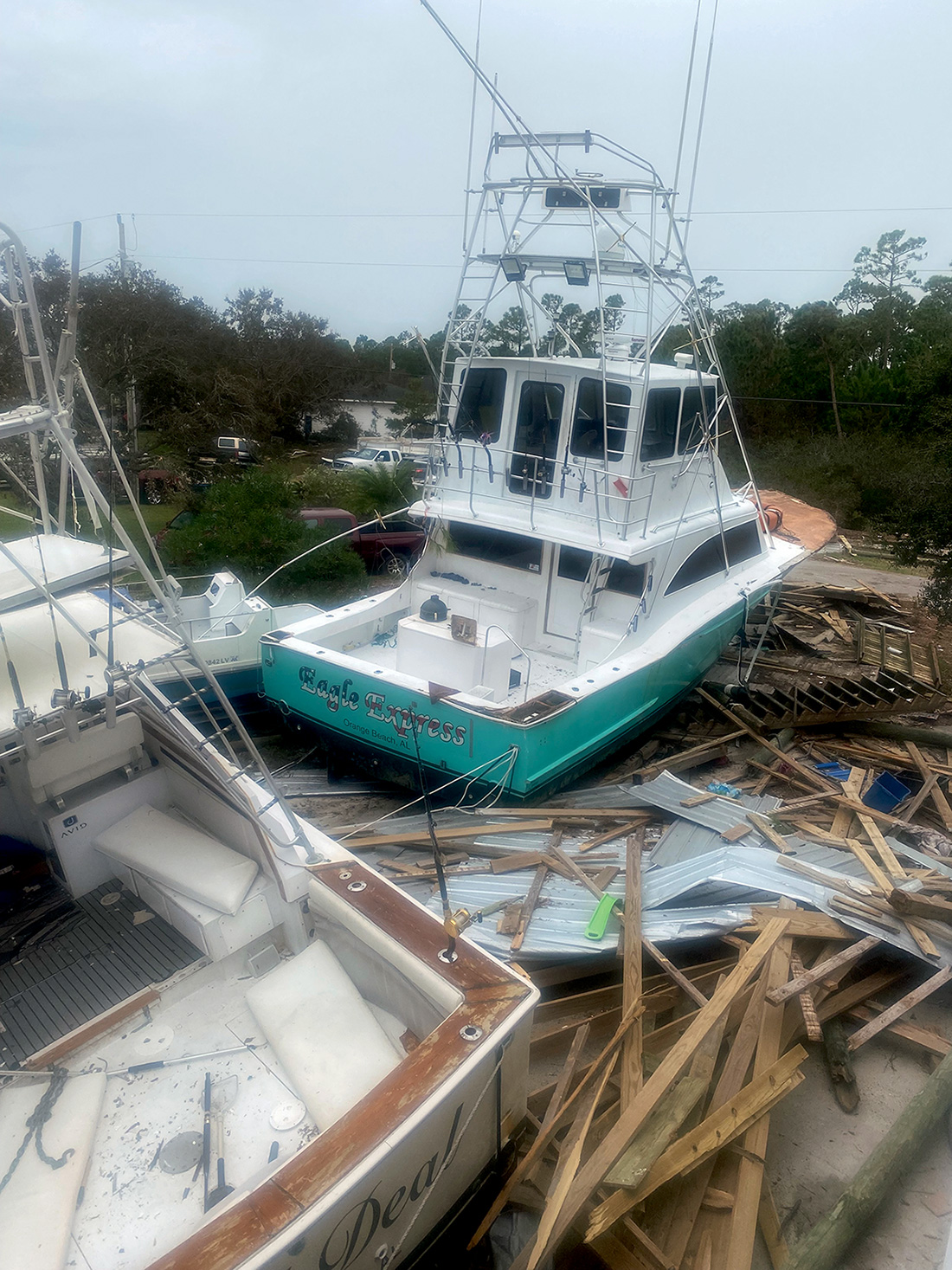 Wrecked boats from Hurricane Sally