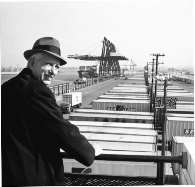 Malcom McLean overlooking the port